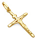 Small Tapered Crucifix Pendant in 14K Yellow Gold - Classic thumb 0