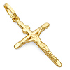 Small Tapered Crucifix Pendant in 14K Yellow Gold - Classic