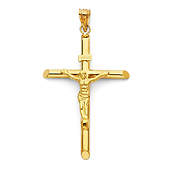 Extra-Large Rod Crucifix Pendant in 14K Yellow Gold - Classic