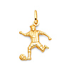 Male Soccer Player Kicking Ball Pendant in 14K Yellow Gold - Small