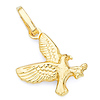 Flying Hawk Charm Pendant in 14K Yellow Gold - Petite