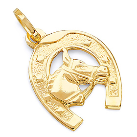 GoldenMine Fine Jewelry Collection 14k Two Tone Gold Lucky Horsehoe Pendant