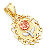 14K Tri Gold Blooming Rose Oval Medal Pendant