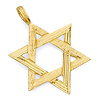 Medium Ridged Star of David Pendant - 14K Yellow Gold