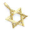 Small Diamond-Cut Star of David Pendant - 14K Yellow Gold