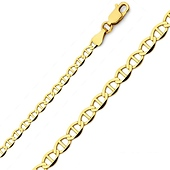 3.5mm 14K Yellow Gold Flat Mariner Chain Necklace 18-24in