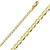 3mm 14K Yellow Gold Flat Mariner Chain Necklace 16-24in
