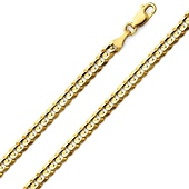 4mm 14K Yellow Gold Men's Concave Curb Cuban Link Chain Necklace 18-24in