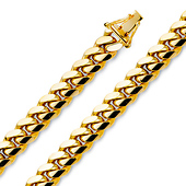9.5mm 14K Yellow Gold Men's Miami Cuban Link Chain Necklace 24-26in