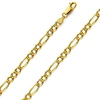 4.5mm 14K Gold Yellow Pave Figaro Link Chain Necklace 18-24in