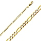 2.5mm 14K Two Tone Gold White Pave Figaro Link Chain Necklace 16-24in thumb 0
