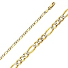 2.5mm 14K Two Tone Gold White Pave Figaro Link Chain Necklace 16-24in