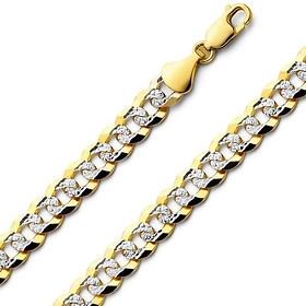 8mm 14K Two Tone Gold Men's White Pave Curb Cuban Link Chain Necklace 20-26in