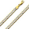 7mm 14K Two Tone Gold Men's White Pave Curb Cuban Link Chain Necklace 20-26in