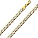 6mm 14K Two Tone Gold Men's White Pave Curb Cuban Link Chain Necklace 20-26in thumb 0