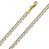 4.5mm 14K Two Tone Gold Men's Flat Mariner Chain Necklace 20-24in