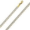 3.5mm 14K Two Tone Gold Flat Mariner Chain Necklace 16-24in