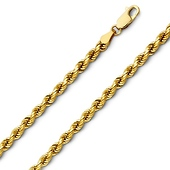 4mm 14K Yellow Gold Men's Diamond-Cut Rope Chain Necklace - Heavy 20-26in