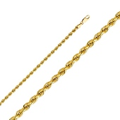 3mm 14K Yellow Gold Diamond-Cut Rope Chain Necklace - Heavy 18-26in