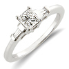 3 Stone Princess Cut Diamond Engagement Ring 0.50 ctw