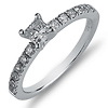Nouveau Princess Cut 14K White Gold Diamond Engagement Ring 0.58 ctw