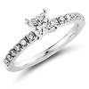 Nouveau Princess Cut 14K White Gold Diamond Engagement Ring 0.75 ctw
