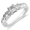 14K White Gold Princess Cut Three-Stone Diamond Engagement Ring 1.0ctw