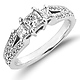 Split Shank 14K White Gold Diamond Engagement Ring 0.80 ctw thumb 0