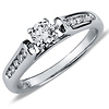 14K White Gold Round Cut Diamond Engagement Ring 0.50 ctw