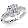 14K White Gold Halo Invisible Set Princess Cut Diamond Engagement Ring 0.50ctw