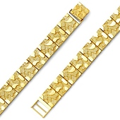 Men's 11mm 14K Yellow Gold Flat Nugget Link Bracelet 8in