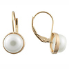 14K Gold White Pearl Huggie Earrings