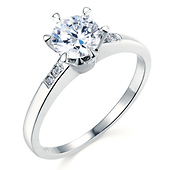 Six-Prong 1-CT Round CZ Engagement Ring with Pave Stones in 14K White Gold