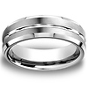 8mm 18K White Gold Designer Satin Wedding Band
