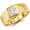 14K Yellow Gold Solitaire Bezel Set Round CZ Men's Ring