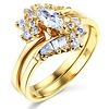 Marquise-Cut & Baguette Side CZ Engagement Ring Set in 14K Yellow Gold