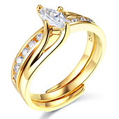 14K Yellow Gold Marquise CZ Wedding Ring Set