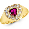 14K Yellow Gold Heart Shape CZ Promise Ring