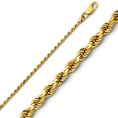 1.5mm 14K Yellow Gold Diamond-Cut Rope Chain Necklace - Heavy 16-24in