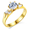 1-CT Round-Cut & 2-Row Baguette CZ Engagement Ring in 14K Yellow Gold