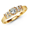 2-Row Side & Solitaire Round-Cut CZ Engagement Ring in 14K Yellow Gold