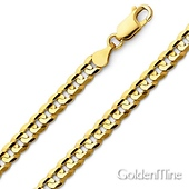 6mm 14K Yellow Gold Men's Concave Curb Cuban Link Chain Bracelet 8in