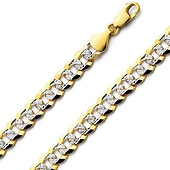 8mm  14K Two Tone Gold White Pave Curb Cuban Link Bracelet 8.5in