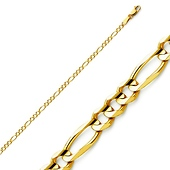 2.5mm 14K Yellow Gold Figaro Link Bracelet