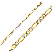 2.5mm 14K Two Tone Gold White Pave Figaro Link Chain Bracelet