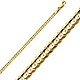 2.5mm 14K Yellow Gold Concave Curb Cuban Link Chain Bracelet 7in thumb 0