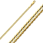 2.5mm 14K Yellow Gold Concave Curb Cuban Link Chain Bracelet 7in