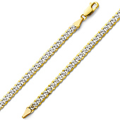 4mm 14K Two Tone Gold White Pave Curb Cuban Link Bracelet