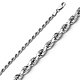 3mm Sterling Silver Diamond-Cut Rope Chain Bracelet 8in thumb 0