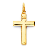 Small Wide Cross Pendant in 14K Yellow Gold